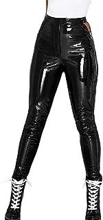 QIYUN.Z女性レッグパンツスリムフィットボディコンレザーサイドジップアップ一日快適さベルトハイウエストラップセクシーなズボン(ブラック、L)