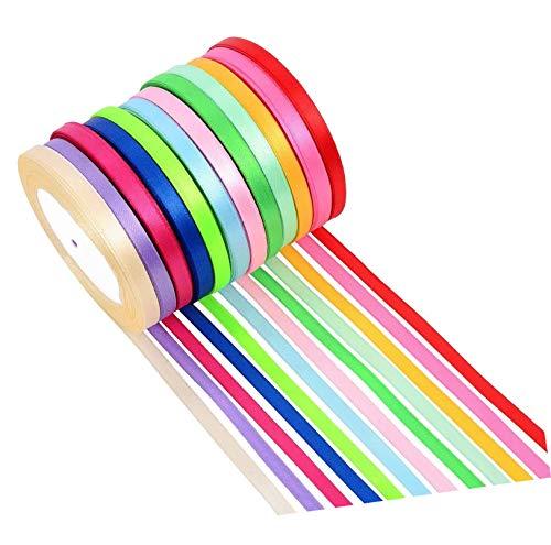 Cinta de Raso,Rollo de Raso de Seda de Cinta de Tela de Doble Cara 10 Colores (10 mm de ancho) para Decoración,Banquete de Boda,Diademas Tejidas,Embalaje de Regalo(250 yardas/grupo)