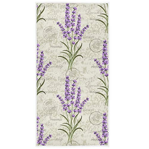 Pfrewn Retro Lavender Stamp Hand Towels 16x30 in Spring Summer Flowers Bathroom Towel Ultra Soft Highly Absorbent Grungy Floral Small Bath Towel Kitchen Dish Guest Towel Home Bathroom Decorations