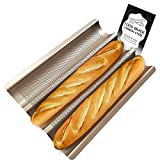 ★ FOOD GRADE MATERIAL & NON-STICK COATING – WALFOS French bread baking pans are made of premium carbon steel that is strong and durable, thicker material than regular ones. Excellent Heat Resistant, the maximum baking temperature is 500 °F which is s...