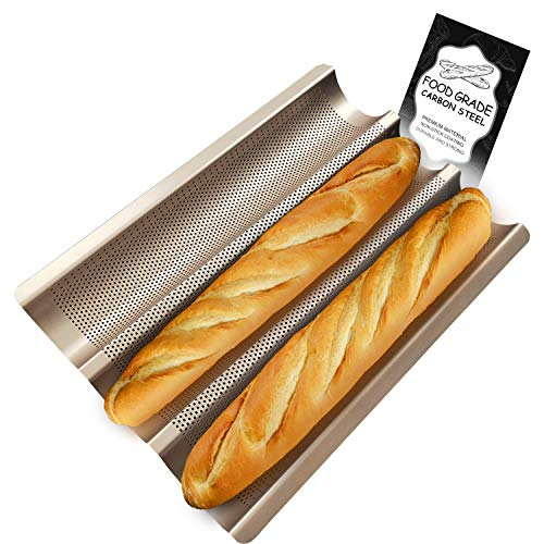Walfos French Bread Baking Pan Nonstick Perforated French Baguette Bread Pan 3 Wave Loaves Loaf Bake Mold Toast Perforated Cooking Bakers Molding Golden