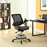 Modway MO-EEI-211-BLK Edge Vinyl Seat and Mesh Back with Flip-Up Arm - Reception Desk Chair, Drafting, Black
