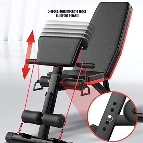 Home Gym Adjustable Utility Weight Bench Foldable Workout Bench, Roman Chair Adjustable Sit Up Incline Abs Bench Flat Fly Weight Press Fitness (Black)