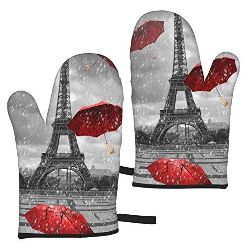 VBHGHFF Guantes de horno con paraguas rojo, diseño de la Torre Eiffel con guantes de horno para microondas, barbacoa, horno y ollas resistentes al calor (juego de 2 manoplas)