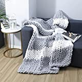 Gray and White Striped Chunky Knit Blanket Throw, Large Tightly Woven Chunky Yarn Knitted Weighted Blanket, Soft and Cozy Handmade Chenille Throw Blanket for Bed, Sofa, Couch and Home Decor 50'x60'