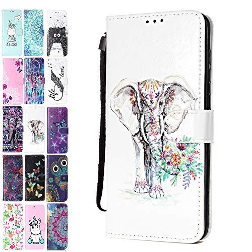Ancase Lederhülle kompatibel für Huawei Y6 2019 / Honor 8A Hülle 3D Muster Elefant Blume Handyhülle Flip Hülle Cover Schutzhülle mit Kartenfach Handytasche für Mädchen Damen