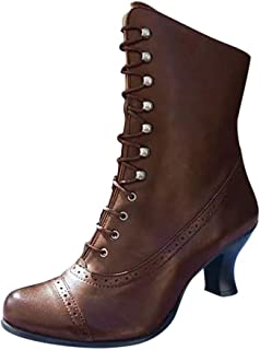 Women Vintage Short Boots Ankle, Ladies Solid Round Toe Cross Lace up Mid-calf Boots