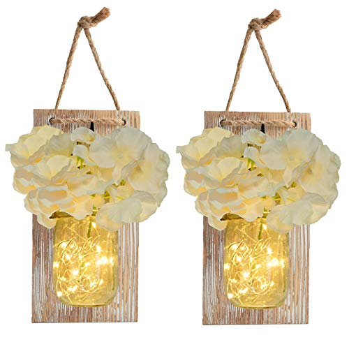 of aerwo party favors dec 2021 theres one clear winner Mason Jar Sconce Rustic Home Wall Decor with LED Fairy Lights - Handcrafted Hanging Mason Jar Sconces 2 Pack