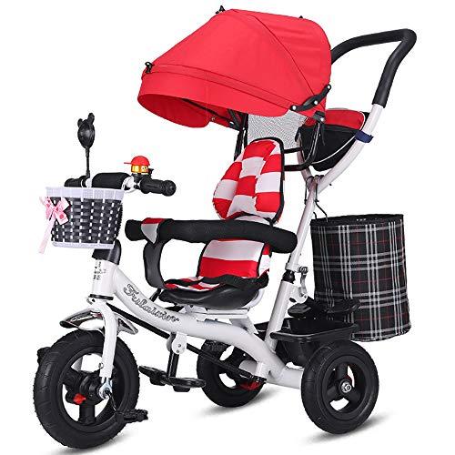 Triciclo Bebe Evolutivo,Trike Bike Triciclo Bebé Plegable 4 en 1 Bicicleta para Niños Capota Extraíble Barra Telescópica para Padres Empuje de 6 Meses a 5 Años Máx 30 kg, Red