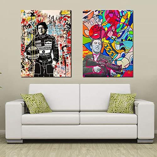 ganlanshu Straßengraffiti-Porträt Pop-Art modernes Ölgemälde Plakat Wohnzimmer Hauptdekoration,Rahmenlose Malerei,60X90cmx2