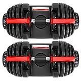 Adjustable Dumbbells 52.5LB Fitness Dial Dumbbell for Home Gym (Pair)