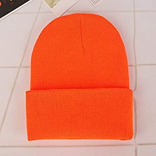 New Fashion Clothing Accessories Simple Solid Color Warm Pullover Knit Cap for Men/Women(White) (Color : Orange)