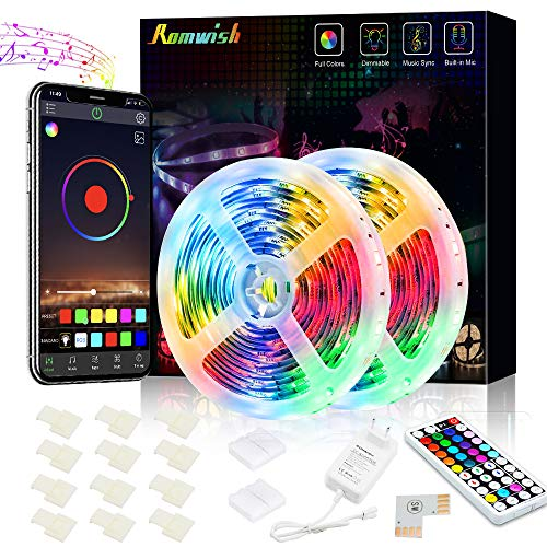 LED Strip 10M, Romwish 32.8ft RGB LED Streifen 300LEDs SMD5050 Led Lichtband,APP Steuerung und 44Tasten RF Fernbedienung 12V Netzteil für Haus, Küche, Party, TV, Dekoration