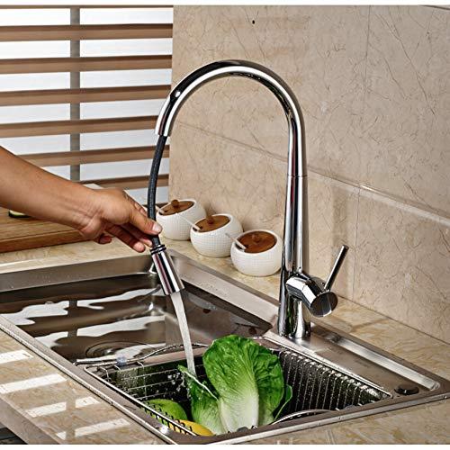 LGTSLT chroom uittrekbare keukenkraan eengreeps messing warm en koud water badkamer keukenmengkraan dekhouder
