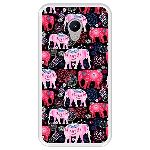 Hapdey Funda Transparente para [ Meizu M3s ] diseño [ Patrón Brillante de Elefantes Rosados y Rojos ] Carcasa Silicona Flexible TPU