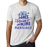 One in the City Hombre Camiseta Vintage T-Shirt Gráfico Best Views Mountains Puerto Rico Blanco Moteado