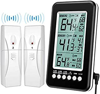 (Upgraded Version) Brifit Refrigerator Thermometer, Wireless Digital Freezer Thermometer with 2 Sensors, Indoor Outdoor Thermometer with Audible Alarm Temperature Gauge for Freezer Kitchen Home