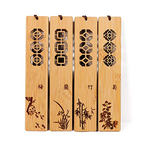 Gdpaddy Handmade Natural Bamboo Bookmark with Beautiful Tassels,Vintage Style Bookmark is A Unique Gift for Teachers, Students, Men and Women - 4Pcs (Classic Style)