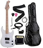 """Raptor 3/4 Scale 36"""" Kids Child Starter Electric Guitar Pack WHITE with 3W Amp, Digital Tuner, Gig..."""