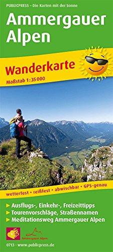 Ammergauer Alpen: Wanderkarte mit Ausflugszielen, Einkehr- & Freizeittipps sowie Mediationsweg Ammergauer Alpen, wetterfest, reißfest, abwischbar, GPS-genau. 1:35000 (Wanderkarte / WK)