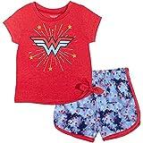 DC Comics Justice League Wonder Woman - Juego de camiseta y pantalones cortos de rizo francés - - 18 meses