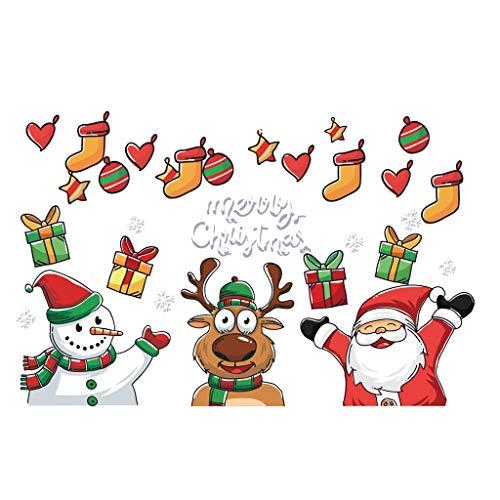 Sayla Weihnachten Aufkleber Fenster Groß Süß Elch Weihnachtsbaum Abnehmbare Weihnachten Deko Wandtattoo Weihnachten Statisch Haftende PVC Aufkleber Fensteraufkleber Wandaufkleber (A)