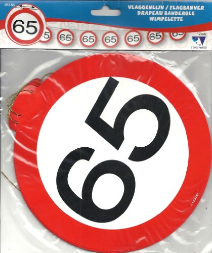 Partyketting 65.Verjaardag, slinger 12m, 15 borden, motief verkeersveiligheid