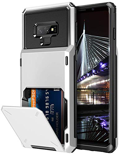 Vofolen Case for Galaxy Note 9 Case Wallet 4-Slot Pocket Credit Card ID Holder Scratch Resistant Dual Layer Protective Bumper Rugged Rubber Armor Hard Shell Cover for Samsung Galaxy Note 9 White