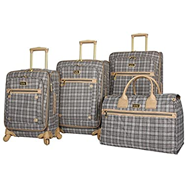 Nicole Miller New York Taylor Set of 4: Box Bag, 20 , 24 , 28  Expandable Spinner Luggages (Gray Plaid)