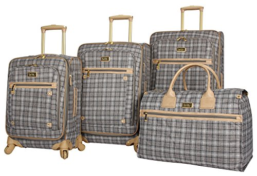 Nicole Miller New York Taylor Set of 4: Box Bag, 20', 24', 28' Expandable Spinner Luggages (Gray Plaid)