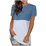 Blusas y Camiseta para Mujer Tallas Grandes Manga Corta Camisa Moda Suelta Gradiente Efecto Teñido Informal con Cuello Redondo Impresión de Costura Tops Fiesta Primavera Verano Camiseta para Mujer