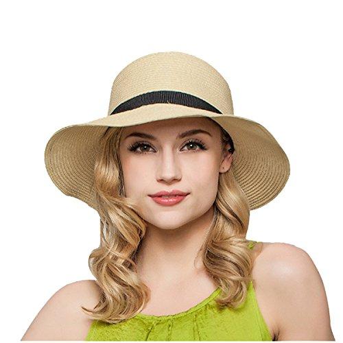 ZUMUii Butterme Mujer Mode de Verano de Playa de Paja Sombrero Plegabl