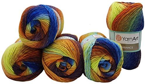 Ilkadim 5 gomitoli di lana da 100 g YarnArt Ambiance, multicolore, con sfumature, 500 grammi, con 20% lana Blu Marrone Terracotta U.a. 157