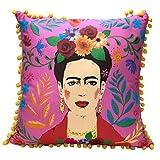 Cojín y Funda de Frida Kahlo Rosa con Pompones |Almohada Decorativa Boho para decoración del hogar, Regalos inspiradores para Mujeres, Dormitorio, sofá, Silla