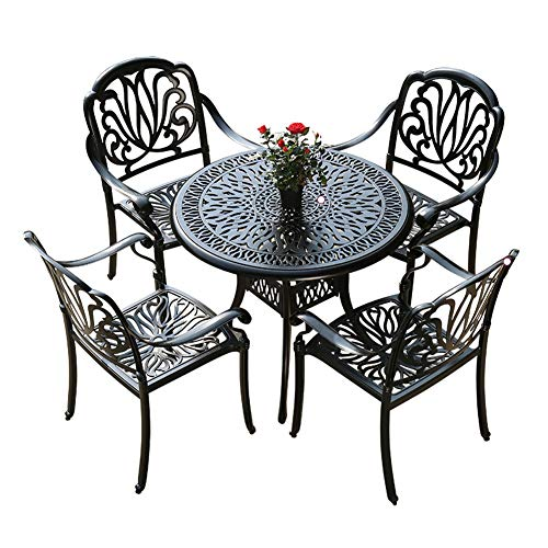 WJDOZ 5-Piece Patio Dining Set 4 Chairs And 1 Round Bistro Table Backyard Garden Furniture Sets Outdoor Rust-Resistant All-Weather Table And Chairs