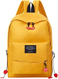 Girl School Bag Student Wild Backpack Travel Toiletry Bag Garment Bags for Travel ; (Color : Yellow)