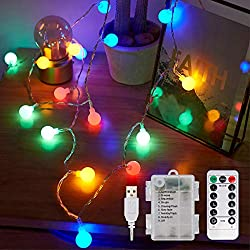 💡【Globe LED String Fairy Lights】There are 100 multi-colored bulbs in delicate frosted, smooth surface design spherical bulb which its diameter is 20mm, soft bright and not dazzling, very pleasant to the eyes. This charming ambiance lighting can creat...