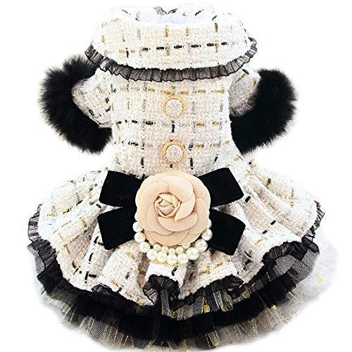 Modnabudrysówka wkwiaty retro gruba sukienka ubranka dla psateddy-off white_M biust 35cm