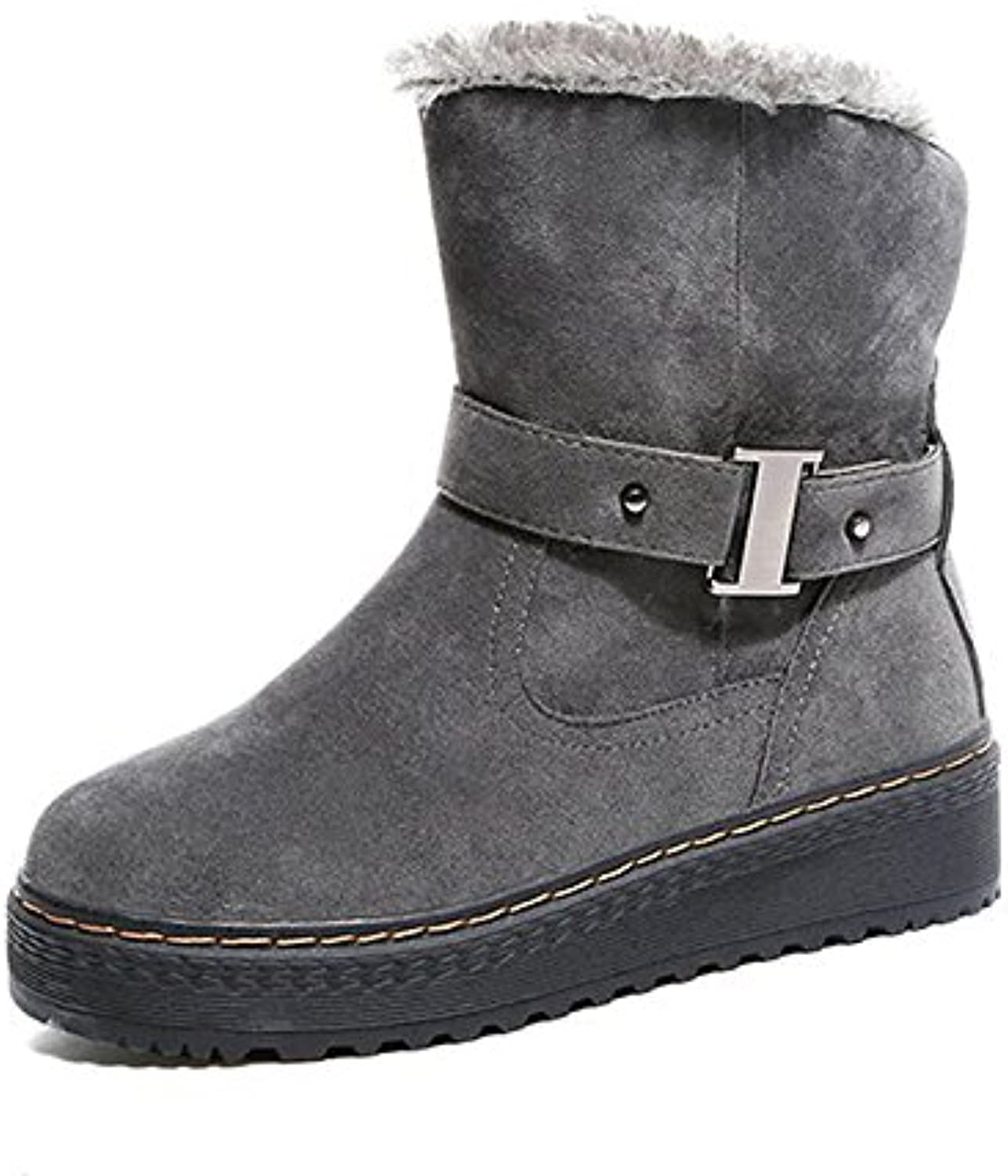 HSXZ Women's shoes Nubuck leather Fleece Winter Spring Snow Boots Bootie Boots Creepers Round Toe Closed Toe Booties Ankle Boots for Casual