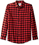 Amazon Essentials - Camicia in flanella a maniche lunghe, a quadri, da uomo, Slim Fit, Rosso (Red Buffalo Plaid), US M (EU M)