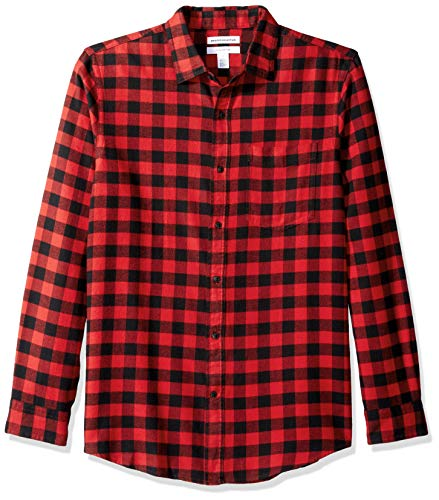 Amazon Essentials Men's Slim-Fit Long-Sleeve Plaid Flannel Shirt, Red Buffalo, Medium
