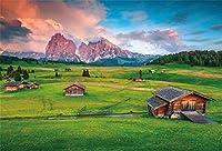 新しいイタリアの風光明媚な背景7x5ft高山の風景とドロミテの木製キャビン写真の背景春の写真結婚式の写真のブースの背景芸術的な肖像画デジタル壁紙