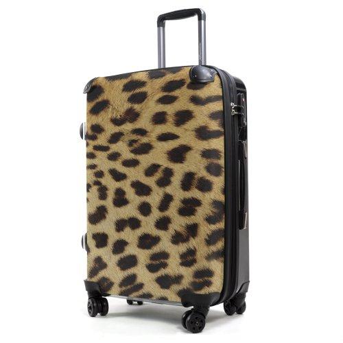 Hauptstadtkoffer® Style - Maleta rígida - 57 litros - Carcasa Delantera Transparente - DISEÑO Intercambiable - Cerradura TSA (Piel de Leopardo)