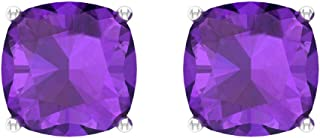 Certified 4 Ct Amethyst Solitaire Earring, Cushion Cut Birthstone Stud Earring, Bridal Wedding Earring, Gold Anniversary Earring, Promise Earring, Screw back