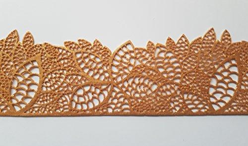 Cinta decorativa de encaje comestible con diseño de flores, para bodas, tartas, magdalenas. 37.5 cm x 5.5 cm dorado