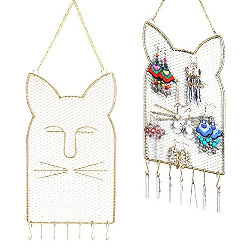 Rolin Roly Organizador de joyas para colgar, para colgar en la pared, para colgar collares, para exhibir pendientes, con ganchos de malla metálica decorativa
