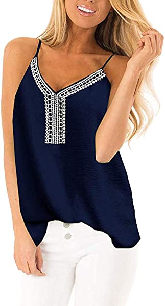 Women S Sexy Tops 2019 Fashion YEZIJIN Women S V Neck Embroidered Tank Tops Loose Sleeveless Backless Shirts Blouse