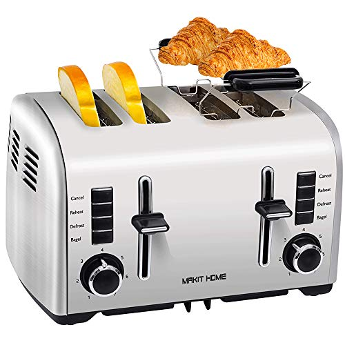 4 Slice Toasters,Stainless Steel Toaster,Extra Wide Slots Toaster with...