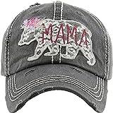 Women's Mama Bear Lace Washed Vintage Baseball Hat Cap (Black)