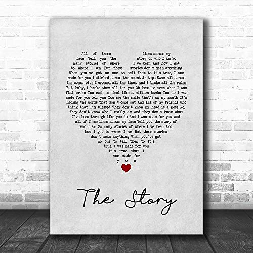 TOPBEE #Brandi #Carlile #The Story Grey Heart Song Lyric Lovers Poster Wall Art Gifts